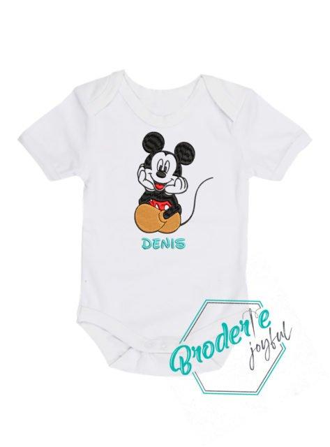 Body bebe brodat Mickey Denis