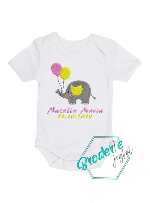 Body bebe brodat elefantel Natalia