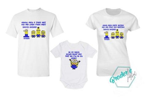 Set tricouri personalizate mot minioni nasi