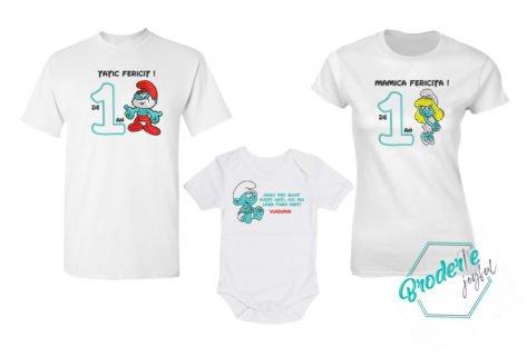 Set tricouri personalizate mot strumfi parinti