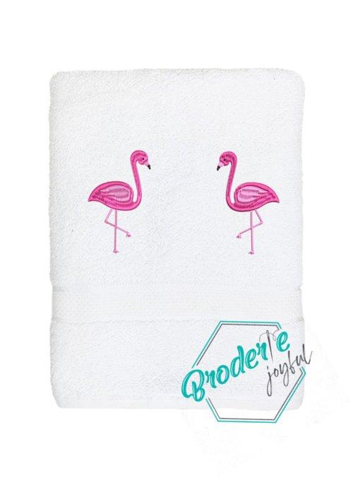 Prosop brodat flamingo