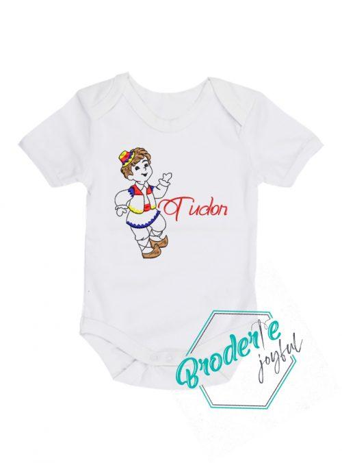 Body bebe personalizat/brodat traditional Tudor