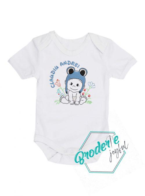 Body bebe personalizat/brodat baby frog