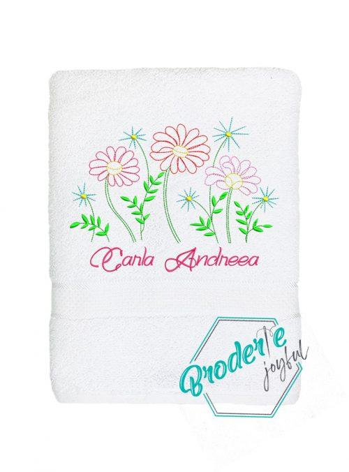 Prosop de baie personalizat flowers