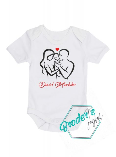 Body bebe personalizat/brodat family love