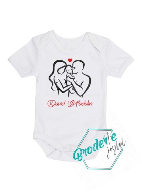 Body bebe personalizat/brodat family love